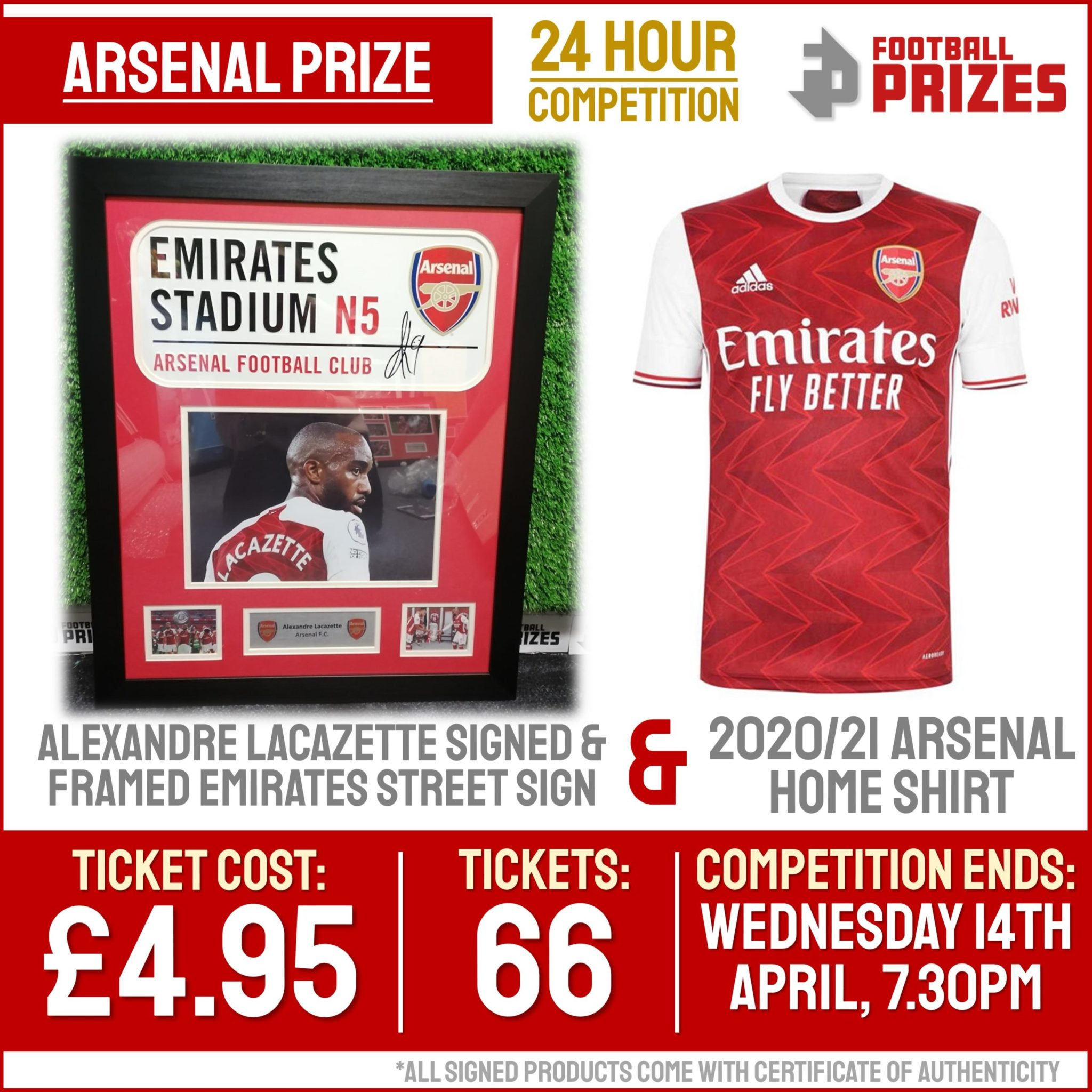 Ends today at 7.30pm! Alexandre Lacazette Signed & Framed Arsenal Montage PLUS 2020/21 Arsenal Home Shirt
