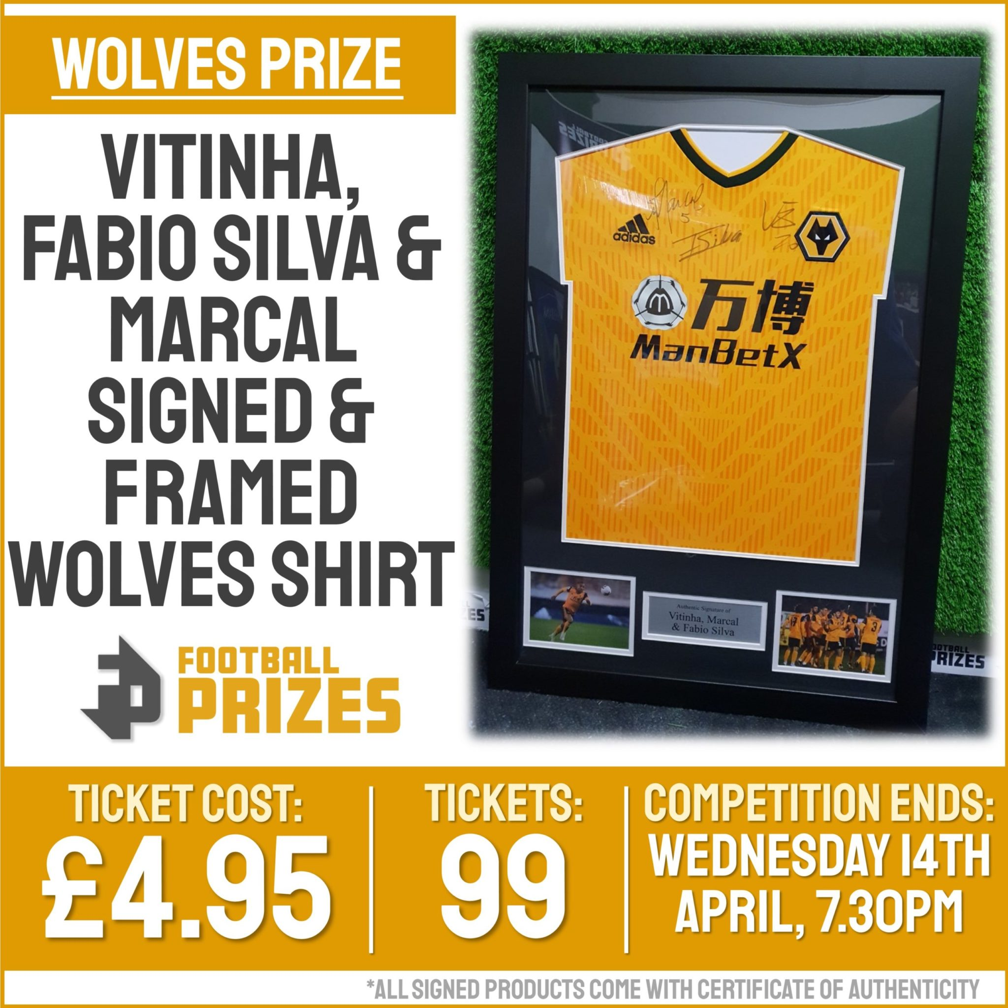 Ends today at 7.30pm! Vitinha, Fabio Silva & Marcal Signed & Framed Wolves Shirt