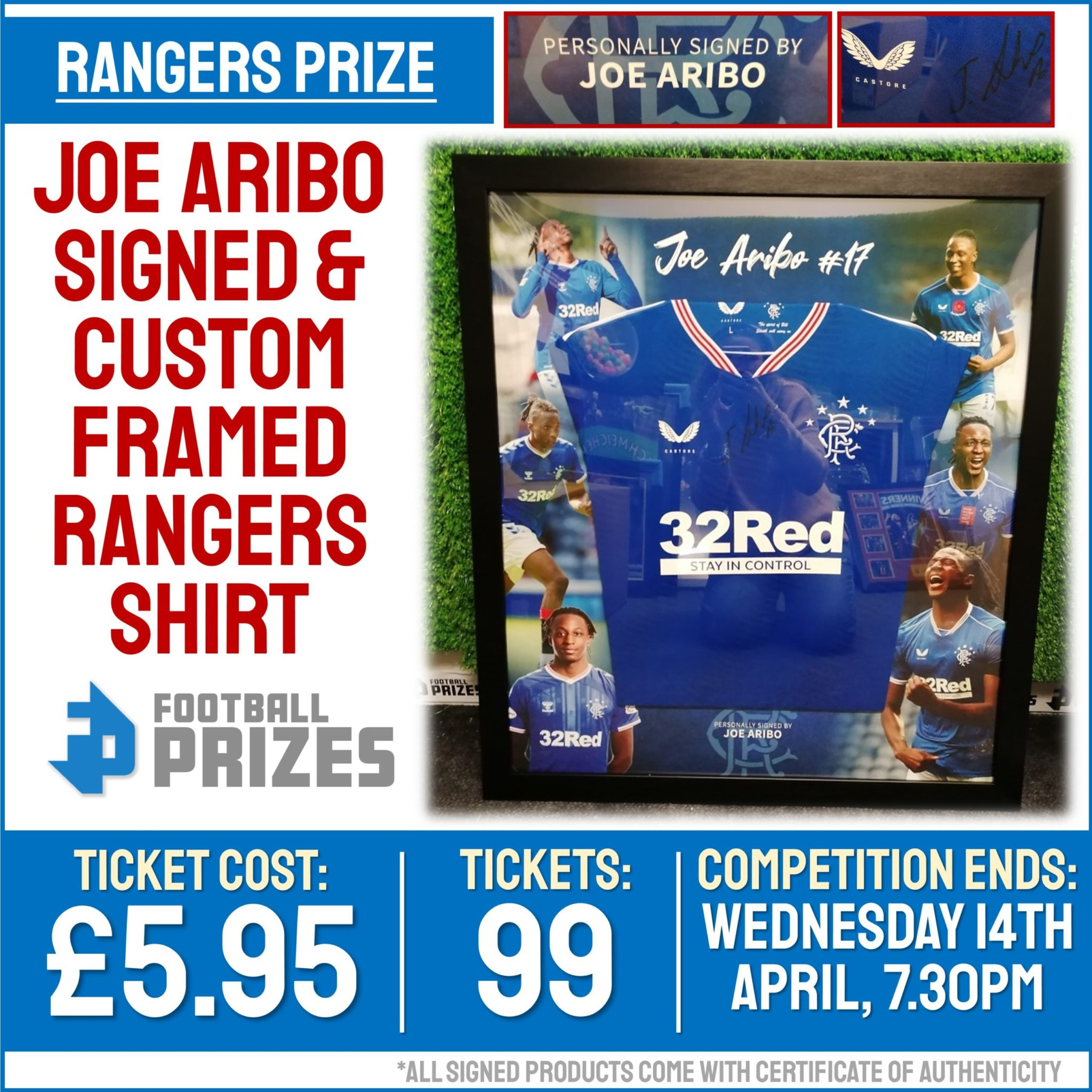 Ends today at 7.30pm! Joe Aribo Signed & Custom Framed Rangers Shirt