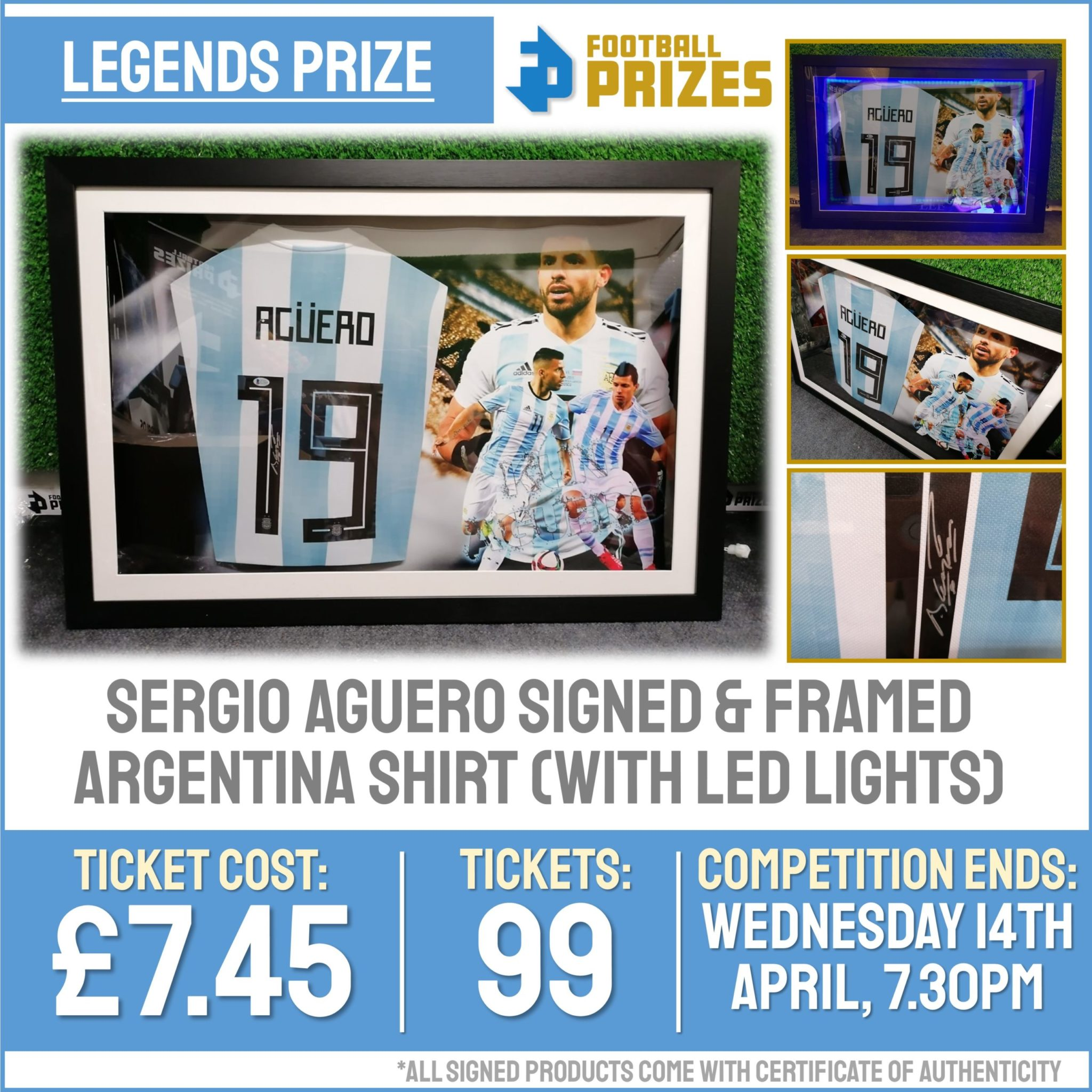 Ends today at 7.30pm! Sergio Aguero Signed & Framed Argentina Shirt (with LED Lights)