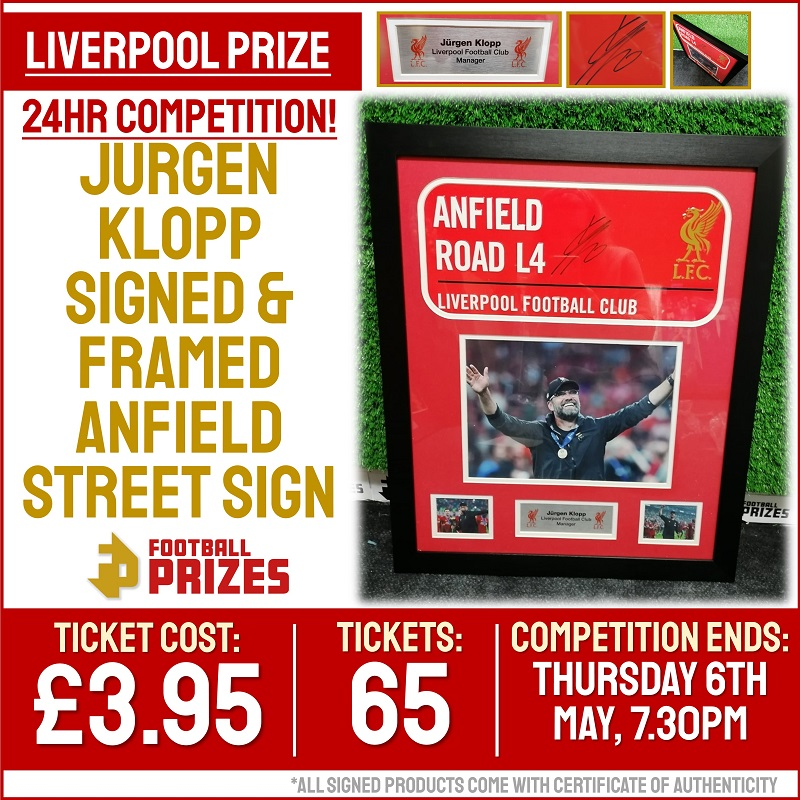 Ends today at 7.30pm! Jurgen Klopp Signed & Framed Anfield Street Sign