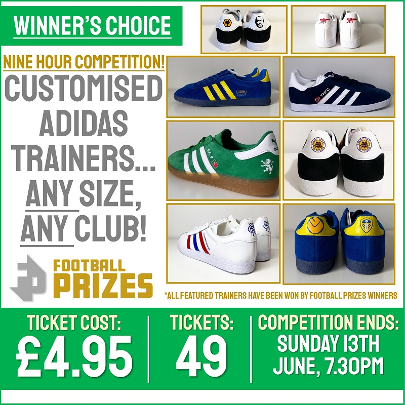 Ends today at 5pm! Customised Adidas Trainers – Any size, Any club