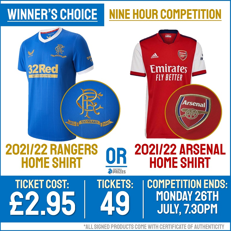 9hr Winner's Choice Competition! Official 2021/22 Rangers or Arsenal Home Shirt