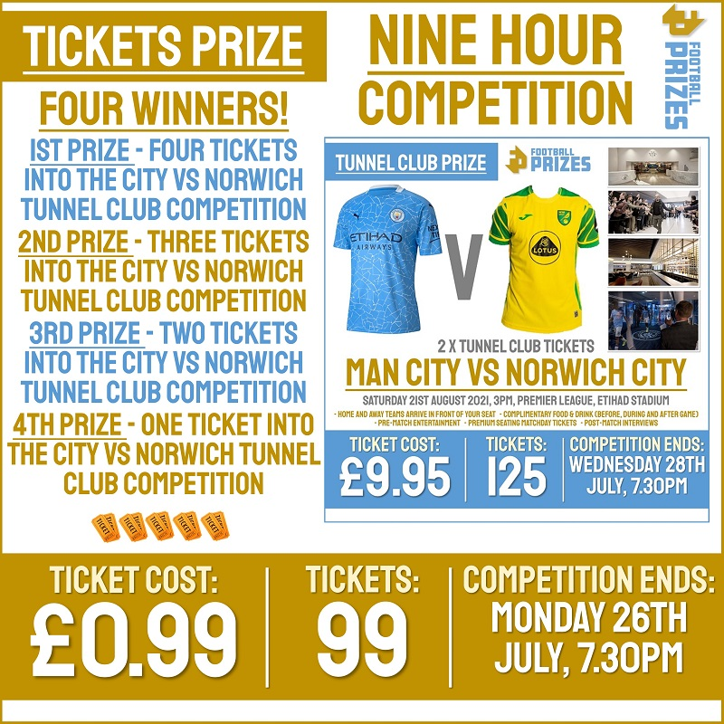 9hr Competition! Win up to TEN tickets to the Manchester City Vs Norwich City Tunnel Club competition