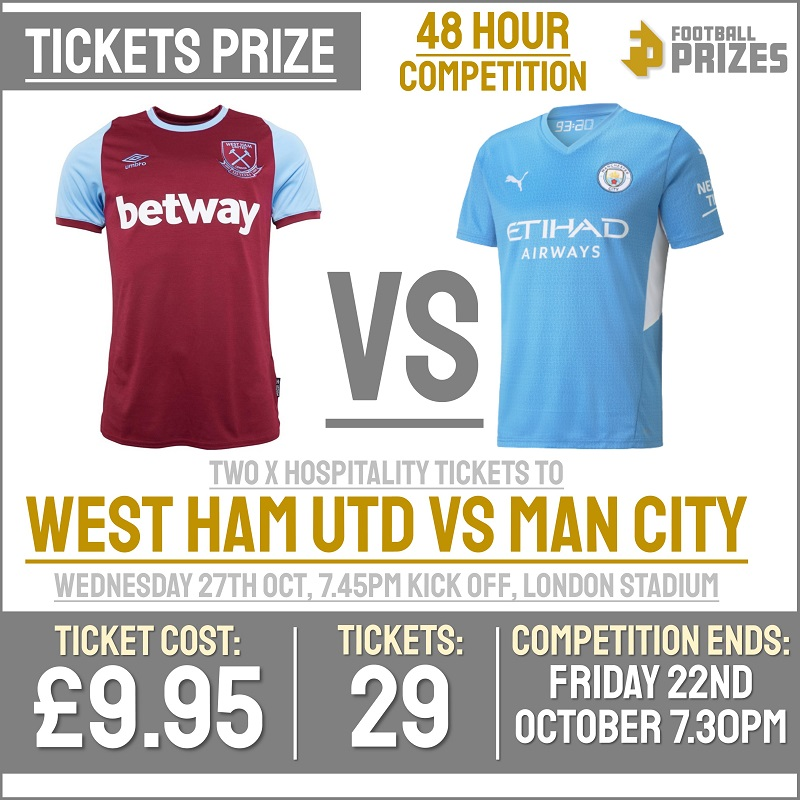 2 x Hospitality Tickets to West Ham Vs Manchester City (Carabao Cup)